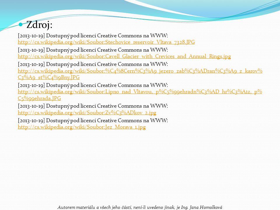 Zdroj: [2013-10-19] Dostupný pod licencí Creative Commons na WWW: http://cs.wikipedia.org/wiki/Soubor:Stechovice_reservoir_Vltava_7328.JPG.
